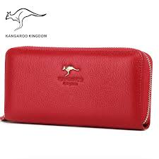 <b>KANGAROO KINGDOM</b> fashion <b>women wallets</b> split leather long ...