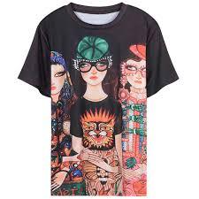 <b>2018</b> Black Short Sleeves <b>Cartoon Print</b> Women'S <b>T Shirts</b> Brand ...