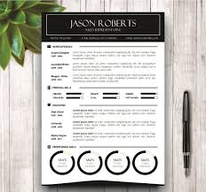 Resume  amp  Cover Letter Template   Resume Templates on Creative Market Creative Market Black and White Resume Template