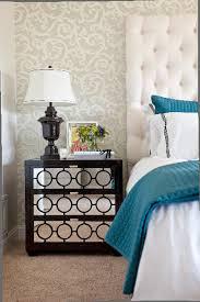 room elegant wallpaper bedroom: beautiful mirrored nightstand in bedroom eclectic with peacock wallpaper next to elegant wallpaper alongside mirrors behind nightstands and dresser as
