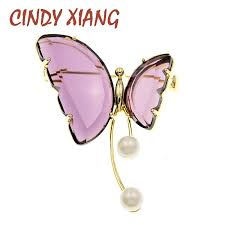 <b>CINDY XIANG</b> Pearl And Crystal Butterfly Pin Brooches For Women ...