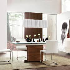 white dining room focused wooden lacquered