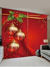 [36% OFF] 2 Panels <b>Christmas Balls Berry Print</b> Window Curtains ...