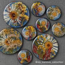 Кабошон с сухими цветами в эпоксидной смоле, для <b>создания</b> ...