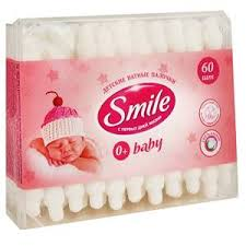 Купить <b>Палочки ватные</b> детские «<b>Smile</b>» - С ограничителем, 60 ...