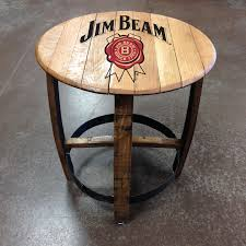 jim beam barrel side table authentic jim beam whiskey barrel table