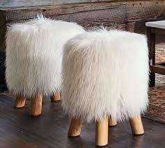 Mongolian <b>Faux Fur Stool</b> | Pottery Barn