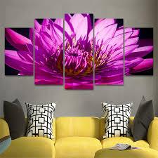 Modular Canvas Paintings <b>Wall Art</b> Print Pictures <b>5</b> Pieces Purple ...