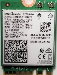Intel 9260NGW IEEE 802.11ac <b>Bluetooth 5.0</b> Wi-Fi/<b>Bluetooth</b> ...