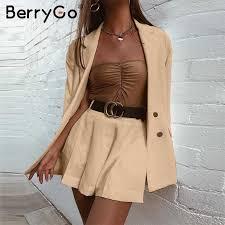 BerryGo Two piece <b>plaid tweed women</b> blazer suit Casual ...