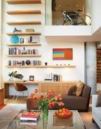living room desks furniture: make use of vertical spaces in lofts for extra storage