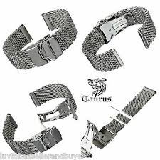 Taurus Thick Milanese <b>Mesh</b> Solid S/Steel Diver's <b>Watch Strap</b> Band ...
