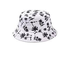 soyagift zipper graffiti flat bucket hat with coconut tree pattern ...