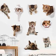 Cartoon Cats 3D Wall Sticker <b>Toilet Sticker Animal</b> Vinyl Decals Art ...