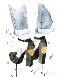 fashion illustration watercolor painting print the plated heel homeoffice decor branch office shoe