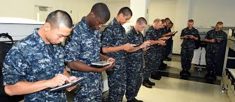 navy training preparing sailors for fleet readiness navy live u s navy recruits study using electronic tablets e tablets in the uss hopper