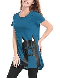 Allegra K <b>Women's Round Neck</b> Short Sleeves Contrast <b>Cartoon</b> Cat ...