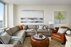 chic living room dcor: modern and spacious living room with shabby chic style of furniture l shaped grey fabric