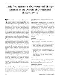guide for supervision of occupational therapy personnel in the first page pdf preview