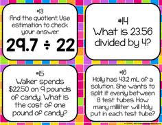 Dividing Decimals by Whole Numbers Task cards by To the Square Inch  Kate Bing Coners
