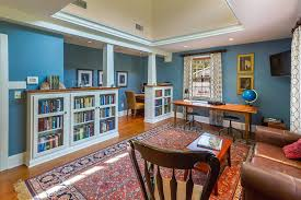 hickory lane traditional home office idea in philadelphia with blue walls chic attractive home office