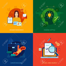 flat icons set for human resources personal career building flat icons set for human resources personal career building cv job search