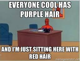 Everyone cool has purple hair And I'm just sitting here with red ... via Relatably.com