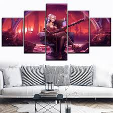 Modern Wall Art Canvas Painting <b>Modular 5 Piece</b> Guitarist Lian ...