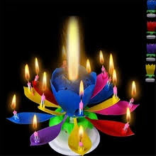 Buy <b>lotus</b> candle <b>birthday</b> flower <b>musical</b> rotating cake candles ...