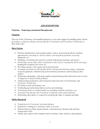 Receptionist Job Description Resume 2016   ESSAY and RESUME ... Cover Letters, Customer Services Representative Resume For Animal Hospital Job With Skill Required Ideas: ...