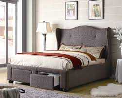 elegant gray velvet upholstery queen bed frame design valentines gifts for him with wing side headboard office bedroom simple design small office space