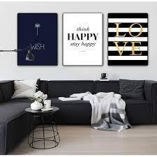 Happy <b>Quotes</b> Canvas Painting Black White <b>Wall Art</b> Posters – VMC ...