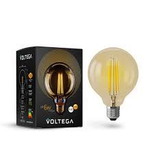 Светодиодная <b>лампа VOLTEGA</b> Шар GOLD G95 Е27 6W <b>7084</b> ...