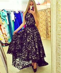 <b>2019 New Arrival cute</b> round neck lace high-low black prom dress