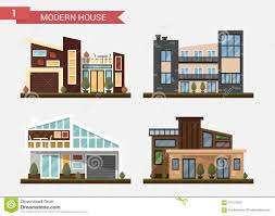 vector flat illustration traditional and modern house family home office building private pavement building home office