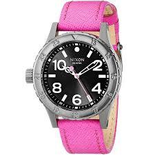 Купить <b>часы</b> женские <b>Nixon 38-20 Leather</b> Black/Hot Pink в ...