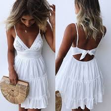 <b>Summer Women</b> Lace <b>Dress Sexy</b> Backless V neck Beach <b>Dresses</b> ...