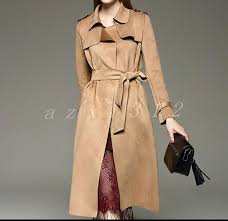 <b>New Womens Slim</b> Lapel Suede Leather Long Jacket Trench Coat ...