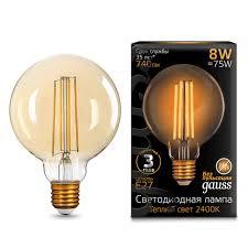 Лампочка <b>105802008 Лампа Gauss</b> LED <b>Filament</b> G95 E27 8W ...