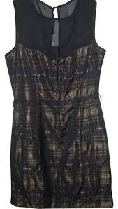 <b>Michael Kors</b> Designer Silk Sheath Black & Gold Metallic Gingham ...