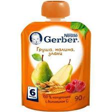 Купить <b>Пюре фруктовое Gerber</b> Груша малина злаки с 6 мес, 90 г ...