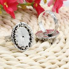 Fit 13x18mm Cabochons Finger Ring <b>Oval</b> Antique Silver Cameo ...