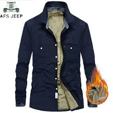 AFS JEEP <b>2018</b> Autumn <b>Winter</b> Thick <b>Fleece</b> Liner Shirt Men Long ...