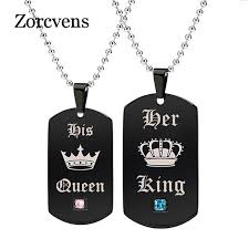 ZORCVENS <b>2018</b> Tags <b>Pendant</b> Couple <b>Necklace</b> Her King & His ...