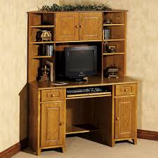 m light brown polished oak wood cabinet storage with computer desk and short tapered legs on brown pile carpet with l shaped office desk with hutch for brown metal office desk
