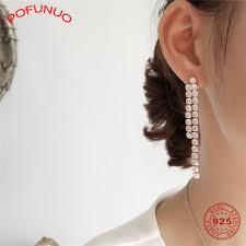 POFUNUO, серебро 925 пробы, милый розовый цветок для ...