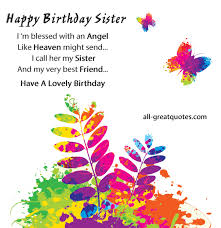 Free Birthday Cards For Sister - I'm blessed with an Angel via Relatably.com