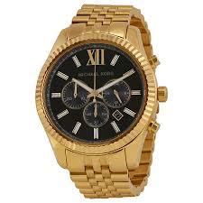 michael kors lexington chronograph black dial gold tone mens watch michael kors · zoom