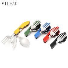 VILEAD Portable Folding Knife <b>Fork Spoon</b> Combined Camping Set ...