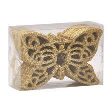 Набор пластиковых подвесок <b>Бабочка 12 шт</b> х 10 см золото с ...
